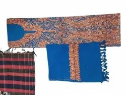 Party Wear Semi-Stitched Blue Embroidered Kashmiri Jaal Suit, Size: 4.5 Metre