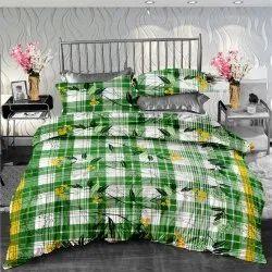 印花印花绿色设计师双人床床单,适用于家庭、酒店,尺寸:90 X 100英寸