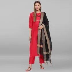 Janasya Women''s Red Poly Silk Kurta With Pant And Dupatta(SET196)