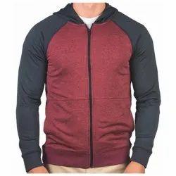 Black,Red Zipper Mens Plain Polyester Jacket