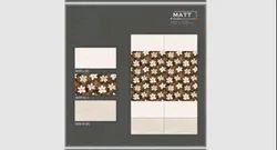 White & Brown Rectangular Floral Printed Ceramic Matt Wall Tile, Size: 300 X 600 mm