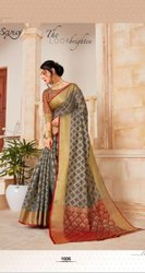 Fancy Grey Color Dyed Saree
