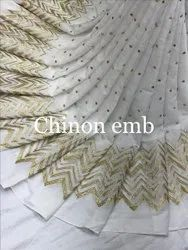 Chinon Embroidered Fabric-Gota Patti