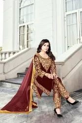Machine High Level Heavy Velvet With Embroidery Work Salwar Suit