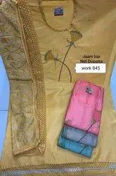 Wedding Wear Embroidery Chanderi Suit With Net Dupatta