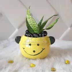 Yellow Ceramic Polar Bear Animal Shape Indoor Pot, For Home