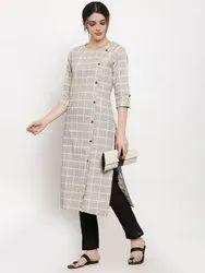 Women Solid Straight Cotton Kurta (Beige)