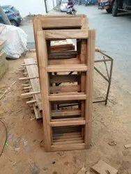 Brown Teak Wood Window, Rectangle, Size/Dimension: Custom