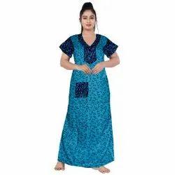 Casual Wear Blue Ladies Gown Nightwear, Size: UPTO 44 XXL