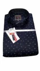 Blue Men Fashion Printed Cotton Shirt