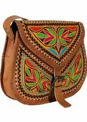 Brown Leather Embroidered Ladies Bag, 150 Gram