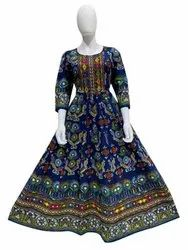 Anarkali 3/4th Sleeve Blue Cotton Long kurti with florial print work for Woman, Wash Care: Handwash