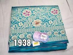 Blue Ladies Party Wear Printed Saree, With blouse piece, 6.30 m