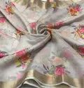 Organza Fabrics with Digital Print & Zari Border