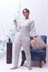 3/4th Sleeve White Girls Cotton Night Suit, Wash Care: Machine wash