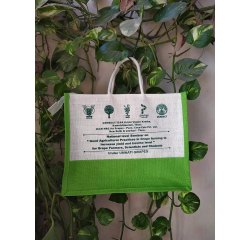 White,Green Zipper Printed Jute Promotional Bag, Capacity: 10 Kg