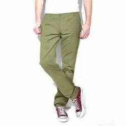 Olive Green Formal Wear Mens Plain Cotton Pant, Machine wash