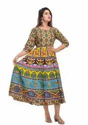 Printed Cotton Middi Dress, Machine wash, Size: Large