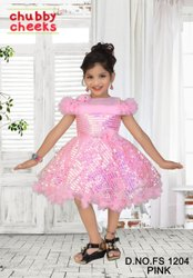 Kids Party Wear Sleeveless Sequin Frock