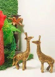 Golden Antique brass Giraffe set, Size: 13cm,14cm