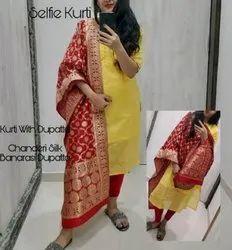 Rewa Fashion A-Line Chanderi Yellow kurti With Banarasi Dupatta, Handwash