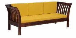 Sri Sai Brown (Frame), Yellow (Seat) Three Seater Wooden Sofa, Size/Dimension: Length 3.8 Feet, Width 1.8 Feet