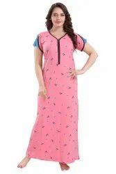 Printed Ladies Pink Readymade Hosiery Nightgown