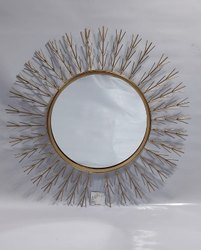 Golden Iron & Glass Interior Decor Mirror, Size: 72x72 Cm
