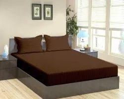 Satin Stripe Dyed Brown Bed Sheet