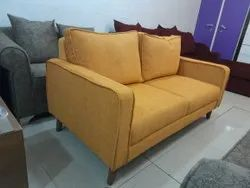 Modern Brown Yellow Wooden Two Seater Sofa, For Home, Living Room