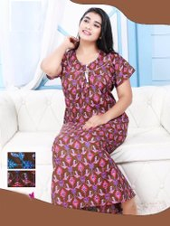 Dark Brown Printed Cotton Night Gown