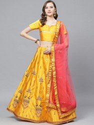 Semi Stitched Laxmi-2064-Mustard-LH Designer Satin Party Wear Lehenga Choli