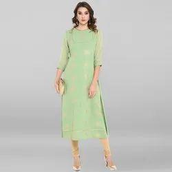 Janasya Women''s Light Green Poly Crepe Kurta(JNE3395)