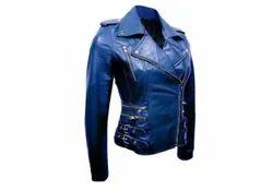 Full Sleeve Plain Women Blue Leather jacket