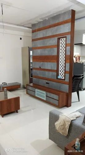 Kanak Furniture Brown Hall Wooden Partition Tv Unit For Home Rs 700 Square Feet Id 22995009430