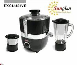 600W Sunglan Black Juicer Mixer Grinder, For Kitchen, Capacity: 2 Jars