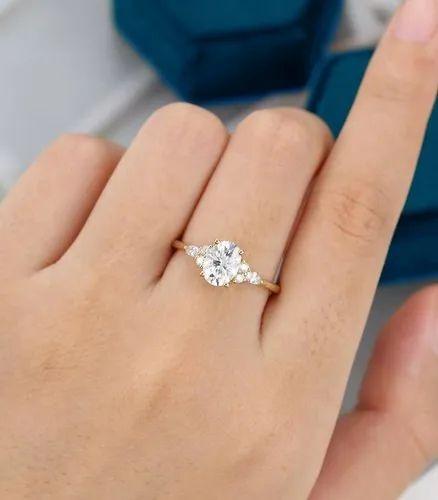 Diamond Ring 9ct Gold Flower Bezel 0.3 carat Stone K12 White Yellow