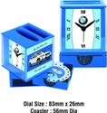 Plastic Table Clock With Pen Holder