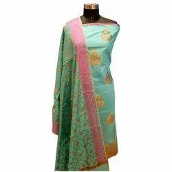 A-Line Stitched Sea Green Cotton Banarasi Suit, Machine wash