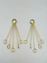 Golden Round Brass Gold Plated Earrings Plain