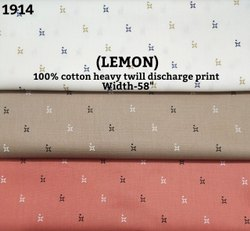 Lemon 100% Cotton Heavy Twill Discharge Print Shirting Fabric