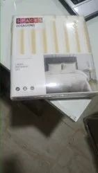 White & yellow Strips Spaces Bed Sheet, For Home
