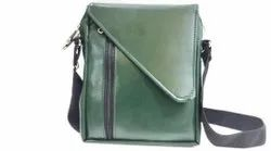 Green Leather Flap Sling Bag, For Casual Wear