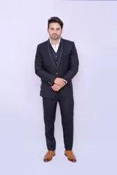 Party Plain Men Black Formal Slim Fit 3 Piece Suit, Size: S,M and L