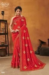 Fancy Embroidery Silk Saree