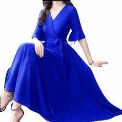 Silk Party Wear Royal Blue V Neck Ladies Kurti, Wash Care: Handwash