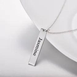 Rectangular Laser Engraving Name Necklace