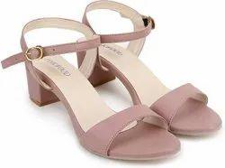 Faux Leather Heels Women Footwear, Size: 7