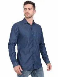 AADHAR Men Denim Cotton Casual Full Sleeves Slim Fit Navy Shirt