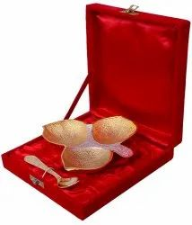 Gold Plated Leaf Shape Platter For Diwali Gifts